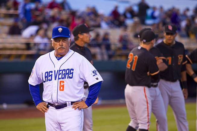 Las Vegas 51s manager Wally Backman waits for his team to take the field during the 51's season opener against the Fresno Grizzlies Thursday, April 3, 2014.