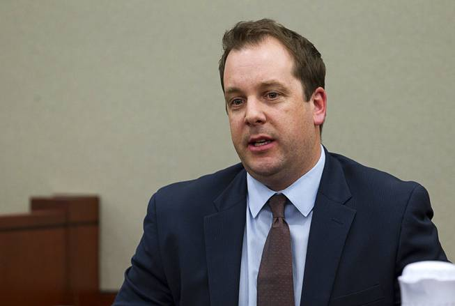 Scott Gilles, Nevada's chief elections deputy, testifies during a hearing for John Michael Schaefer, a candidate for Nevada state controller, at the Regional Justice Center Thursday, April 3, 2014. Election officials want the court to remove Schaefer from the Democratic primary ballot because they contend he doesn't meet residency requirements.