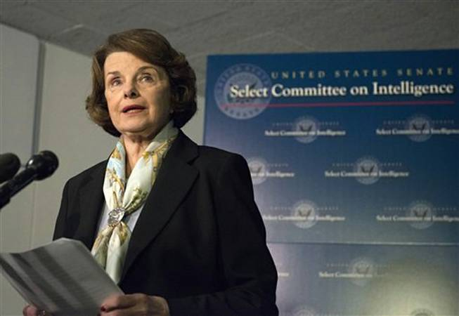 Senate Intelligence Committee Chair Sen. Dianne Feinstein, D-Calif. speaks after a closed-door meeting on Capitol Hill in Washington, Thursday, April 3, 2014, after the panel voted to approve declassifying part of a secret report on Bush-era interrogations of terrorism suspects. Members of the intelligence community raised concerns that the committee failed to interview top spy agency officials who had authorized or supervised the brutal interrogations.