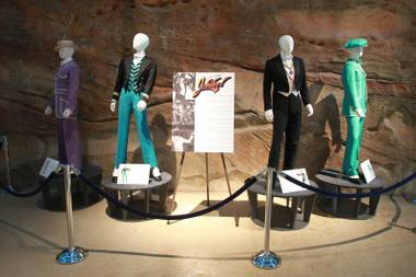 A selection of male costumes from the show Jubilee is seen on display at the Nevada State Museum Friday, April 4, 2014.