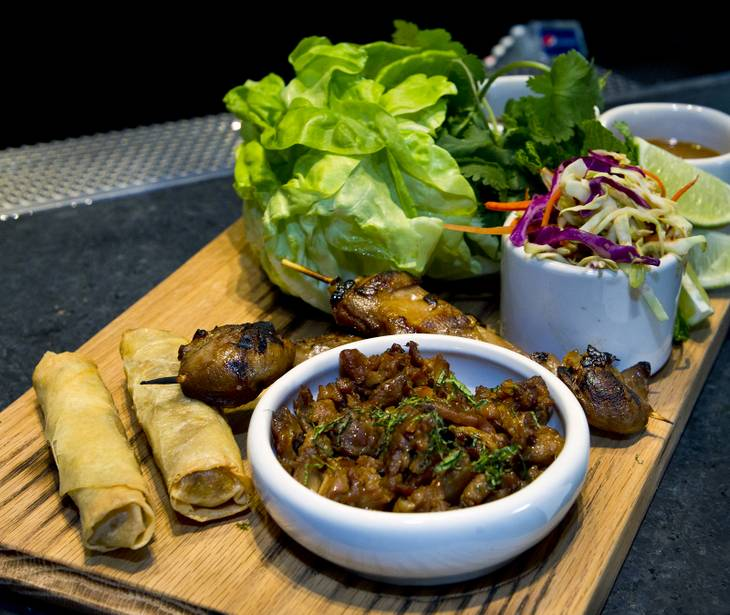 The Ultimate Asian Chicken Wraps on the menu at Guy Fieri's Vegas Kitchen & Bar set to open later this month on Friday, April 4, 2014.