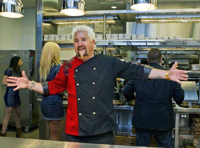 Guy Fieri shows off his new kitchen within his restaurant Guy Fieri's Vegas Kitchen & Bar, at the Quad.