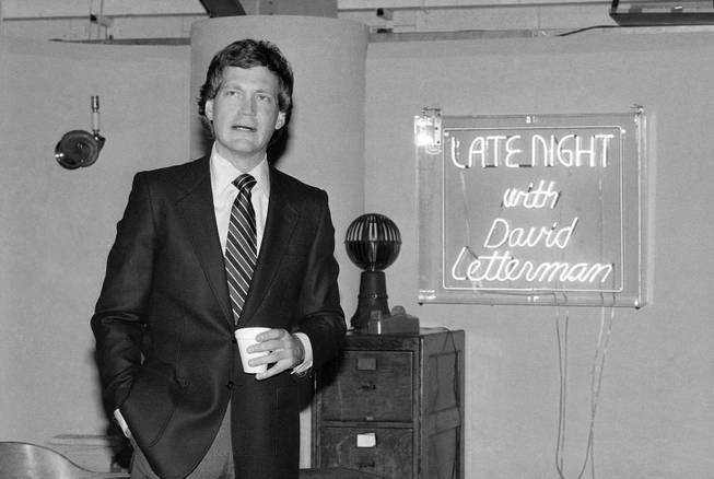 "David Letterman at reception in NBC's Studio 6A January 19, 1982 at the announcement of new NBC comedy show ""Late Night With David Letterman."""