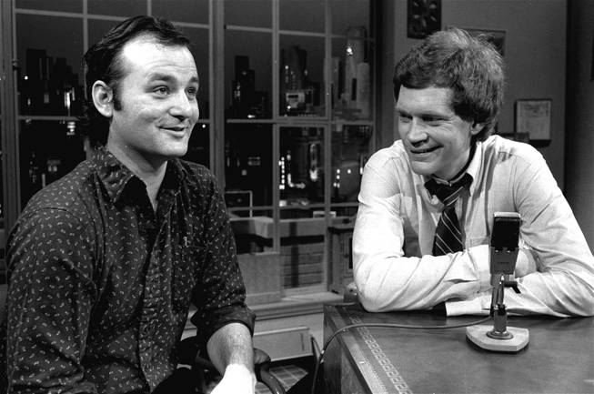 "David Letterman at the taping of his first talk-comedy hour ""Late Night with David Letterman"" with guest Bill Murray, February 1, 1982 in New York."