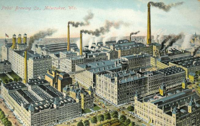 This image provided by the Pabst Mansion museum shows a postcard depicting the Pabst Brewery around 1900 in Milwaukee. A small group of Milwaukee residents want to revive the city's beer brewing tradition by buying Pabst Brewing Co. from a California executive in hopes of returning the brand's headquarters to its birthplace.