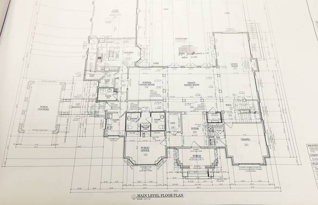 An original floor plan for the proposed new residence of Atlanta Archbishop Wilton Gregory is seen Wednesday, April 2, 2014, in Smyrna, Ga.