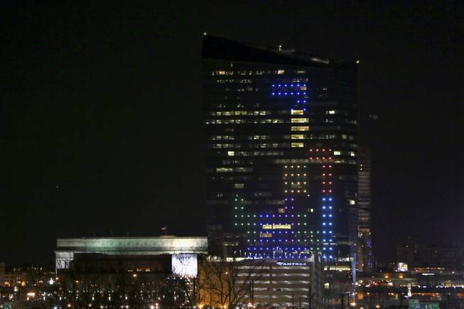The classic video game Tetris is played on the 29-story Cira Centre in Philadelphia on Saturday, April 5, 2014, using hundreds of LED lights embedded in its glass facade. The spectacle kicks off a citywide series of events called Philly Tech Week and also celebrates the upcoming 30th anniversary of Tetris.