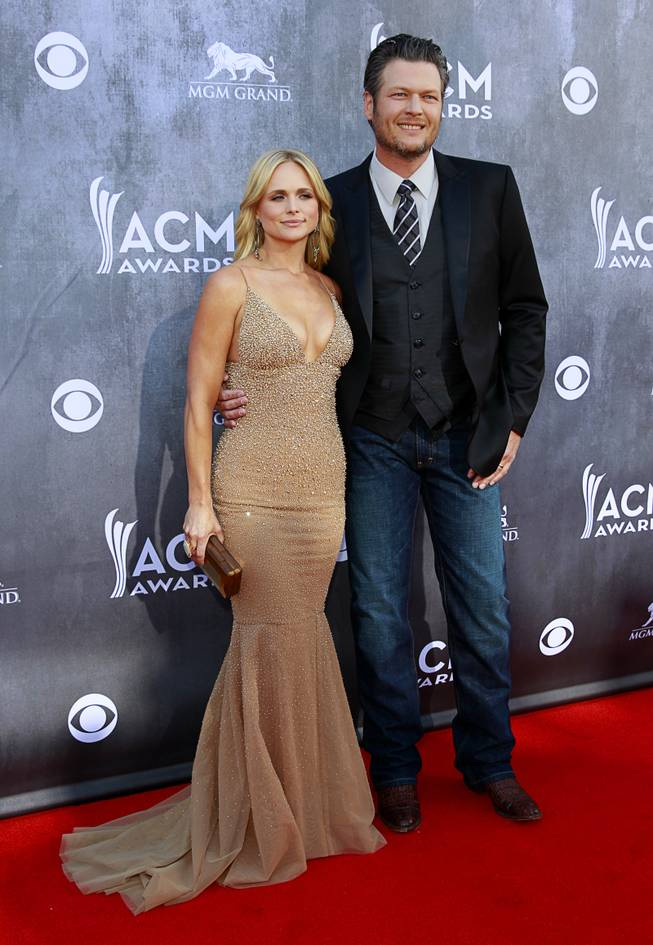Miranda Lambert and Blake Shelton arrive for the 49th Annual Academy of Country Music Awards at MGM Grand Garden Arena on Sunday, April 6, 2014, in Las Vegas.