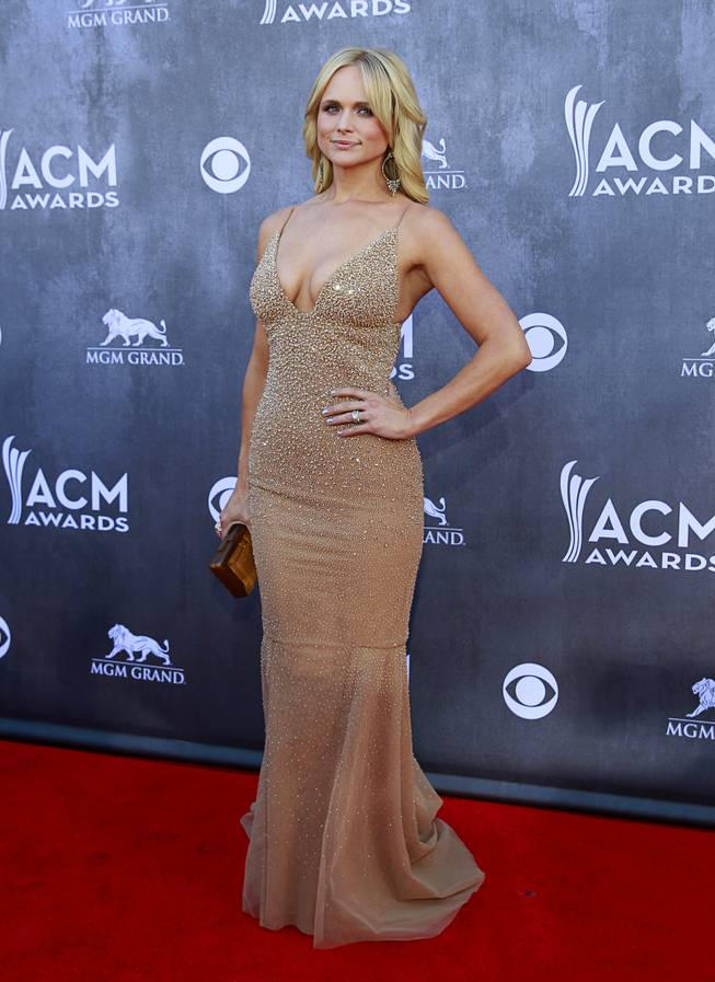 Miranda Lambert arrives for the 49th Academy of Country Music Awards show at the MGM Grand Garden Arena Sunday, April 6, 2014.
