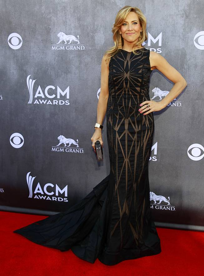 Sheryl Crow arrives for the 49th Academy of Country Music Awards show at the MGM Grand Garden Arena Sunday, April 6, 2014.