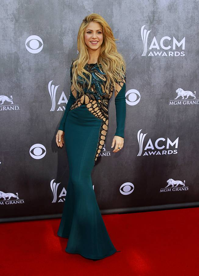 Singer Shakira arrives for the 49th Academy of Country Music Awards show at the MGM Grand Garden Arena Sunday, April 6, 2014.