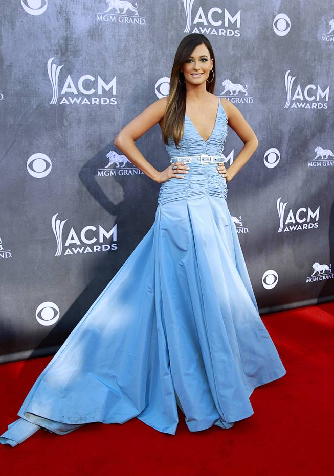 Kacey Musgraves arrives for the 49th Academy of Country Music Awards show at the MGM Grand Garden Arena Sunday, April 6, 2014.
