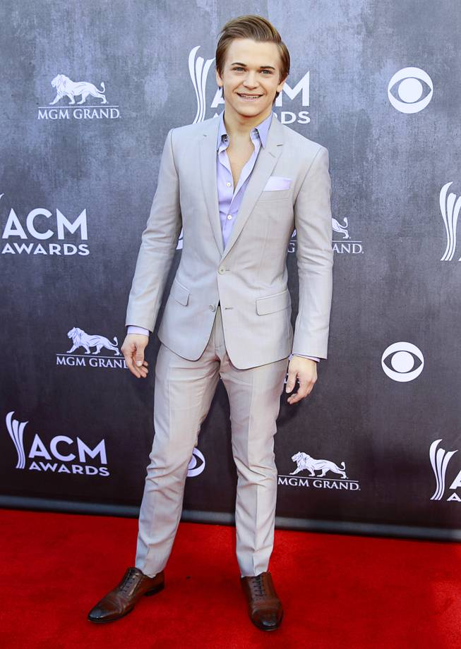 Hunter Hayes arrives for the 49th Academy of Country Music Awards show at the MGM Grand Garden Arena Sunday, April 6, 2014.