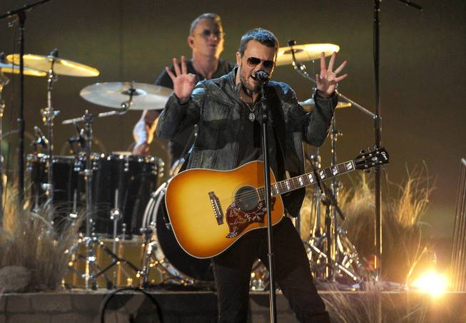 Eric Church performs on stage at the 49th annual Academy of Country Music Awards at the MGM Grand Garden Arena on Sunday, April 6, 2014, in Las Vegas.