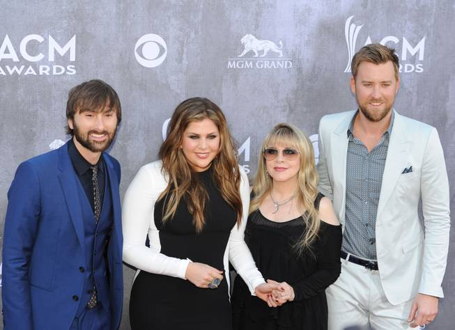 Lady Antebellum and Stevie Nicks arrive at the 49th Annual Academy of Country Music Awards on Sunday, April 6, 2014, at MGM Grand Garden Arena.