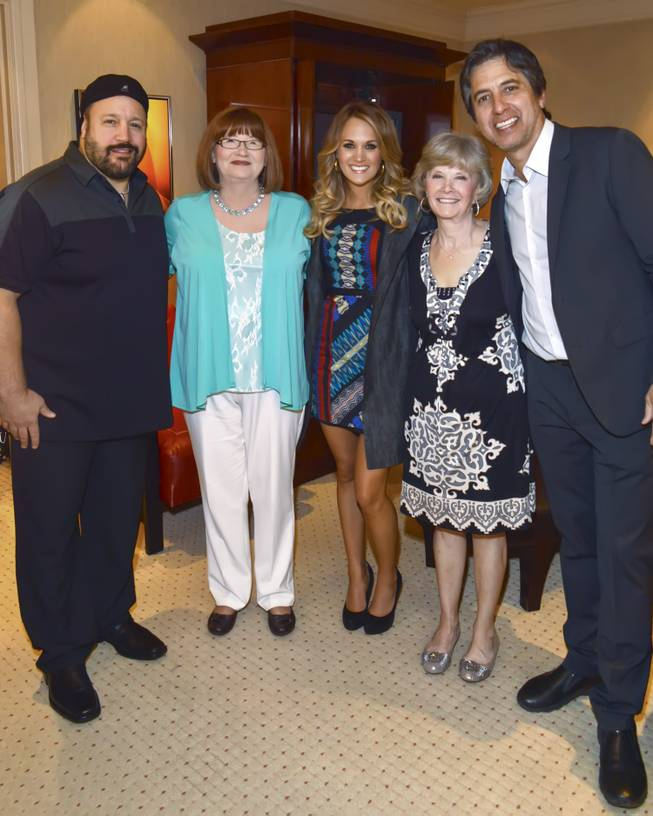 Kevin James, Donna Wasson, Carrie Underwood, Carol Underwood (Carrie's mother) and Ray Romano at the Mirage's Aces of Comedy Show with Ray Romano and Kevin James on Friday, April 4, 2014.