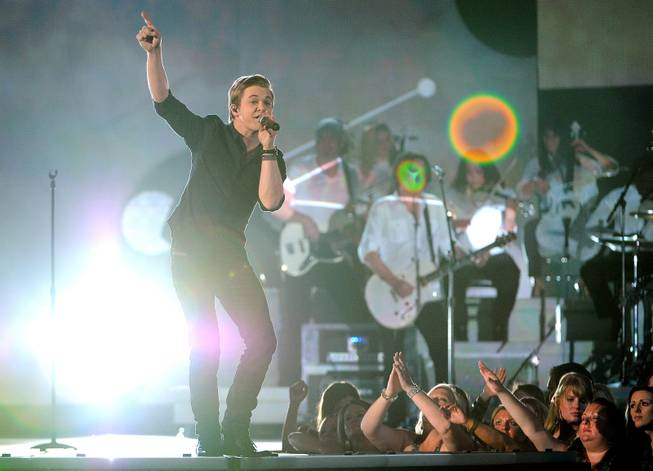 Hunter Hayes performs on stage at the 49th annual Academy of Country Music Awards at the MGM Grand Garden Arena on Sunday, April 6, 2014, in Las Vegas.