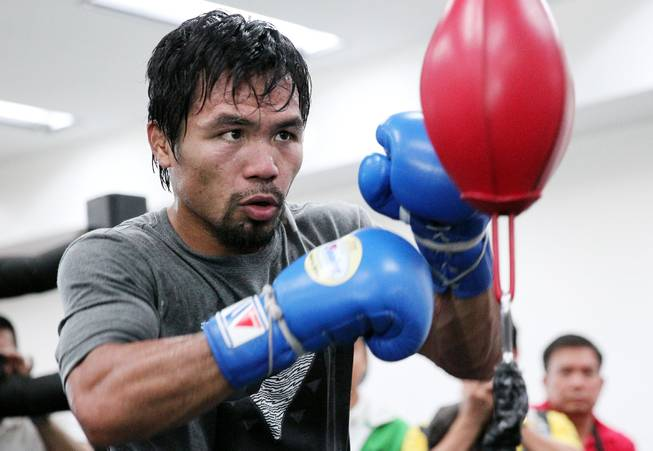 Manny Pacquiao works out at the Wild Card Boxing Club in Hollywood,Ca. during the final day of training camp Monday, April 7, 2014,  before heading to Las Vegas for his rematch against undefeated WBO World Welterweight champion Timothy Bradley.
