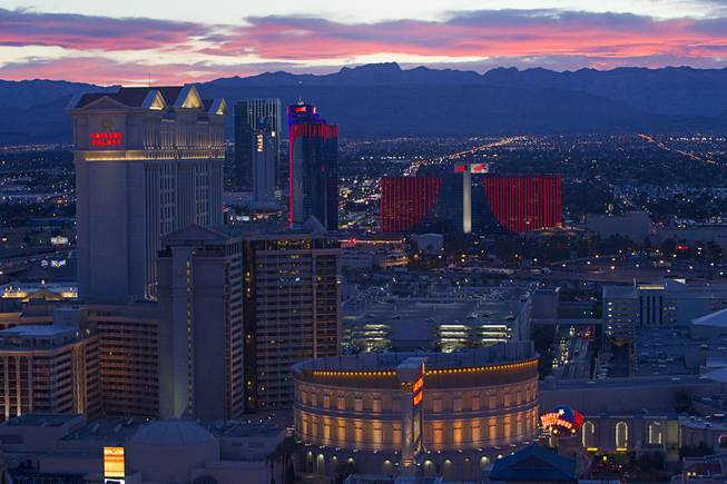 Las Vegas casinos are shown in a view from the 550 foot-tall High Roller observation wheel, the tallest in the world, Wednesday, April 9, 2014. The wheel is the centerpiece of the $550 million Linq project, a retail, dining and entertainment district by Caesars Entertainment Corp.