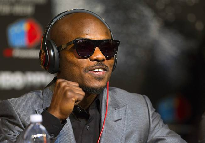 Undefeated WBO welterweight champion Timothy Bradley makes a fist during a news conference at the MGM Grand Wednesday, April 9, 2014. Manny Pacquiao of the Philippines will challenge Bradley at the MGM Grand Garden Arena on Saturday. The fight is a rematch to a June 9, 2012 fight that Bradley won.