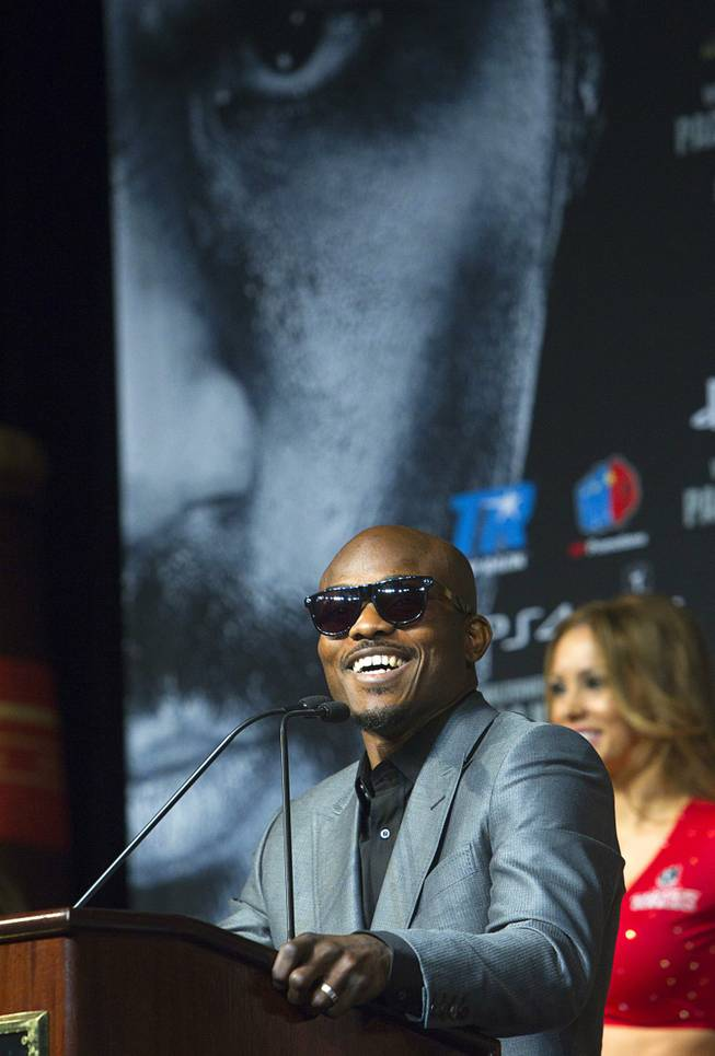 Undefeated WBO welterweight champion Timothy Bradley speaks during a news conference at the MGM Grand Wednesday, April 9, 2014. Manny Pacquiao of the Philippines will challenge Bradley at the MGM Grand Garden Arena on Saturday. The fight is a rematch to a June 9, 2012 fight that Bradley won.