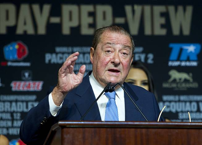 Boxing promoter Bob Arum, CEO of Top Rank, speaks during a boxing news conference at the MGM Grand Wednesday, April 9, 2014. Manny Pacquiao of the Philippines will challenge undefeated WBO welterweight champion Timothy Bradley at the MGM Grand Garden Arena on Saturday. The fight is a rematch to a June 9, 2012 fight that Bradley won.