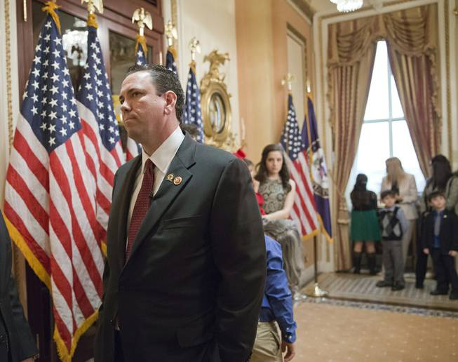 This photo taken Thursday, Nov. 21, 2013, shows then-newly elected Rep. Vance McAllister, R-La., waiting to be sworn in on Capitol Hill in Washington.