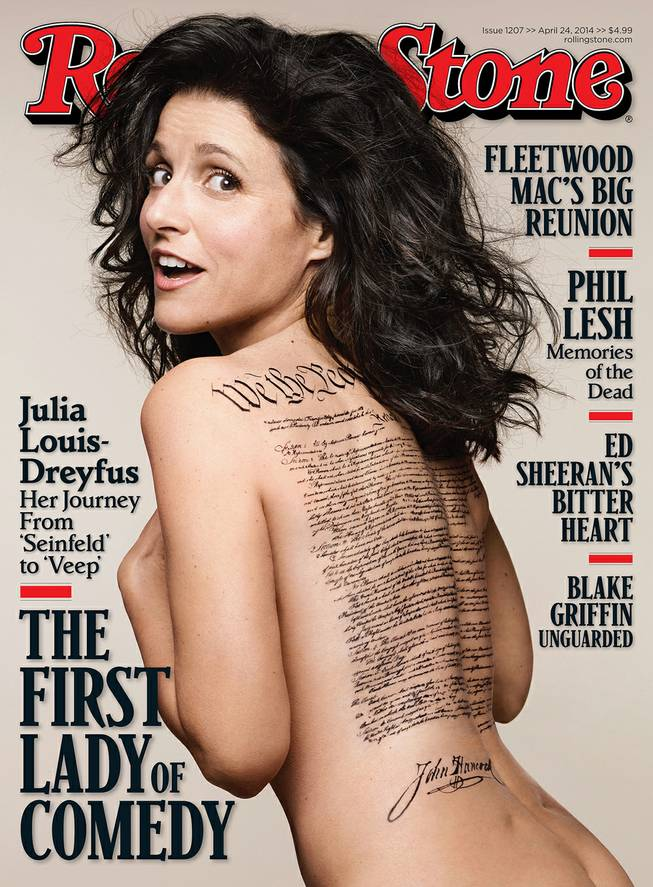This undated photo released by Rolling Stone shows the cover of the April 24, 2014, issue of Rolling Stone magazine featuring actress Julia Louis-Dreyfus.