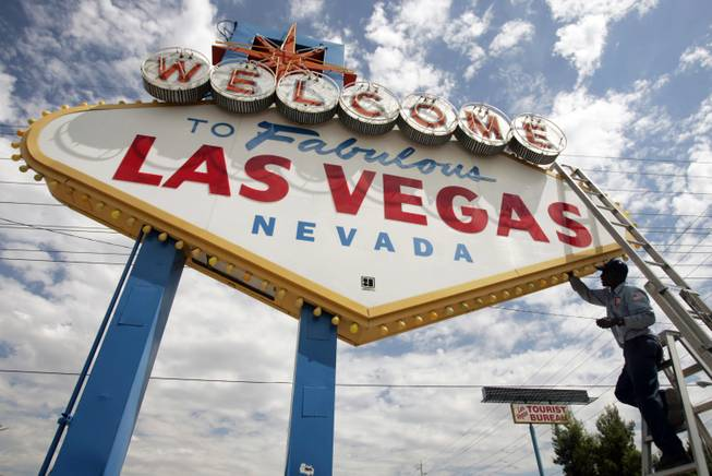 This file photo shows the iconic Welcome to Las Vegas sign.