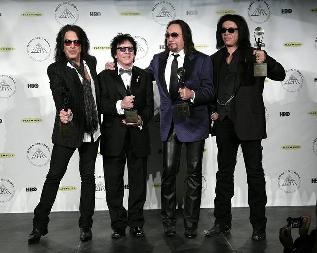 Hall of Fame inductees KISS original band members Paul Stanley, Peter Criss, Ace Frehley and Gene Simmons appear in the press room at the 2014 Rock and Roll Hall of Fame Induction Ceremony on Thursday, April, 10, 2014, in New York.