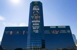 An advertisement for Floyd Mayweather Jr.'s upcoming fight is shown on the side of the MGM Grand Thursday, April 10, 2014. Top Rank CEO Bob Arum, promoter for boxer Manny Pacquiao, voiced his displeasure at the Mayweather signage during a news conference on Wednesday.
