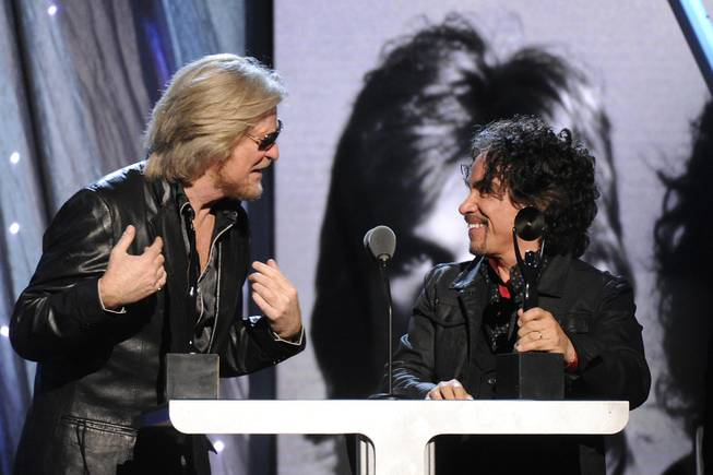 Hall of Fame Inductees, Hall and Oates, Daryl Hall and John Oates speak at the 2014 Rock and Roll Hall of Fame Induction Ceremony on Thursday, April, 10, 2014 in New York.