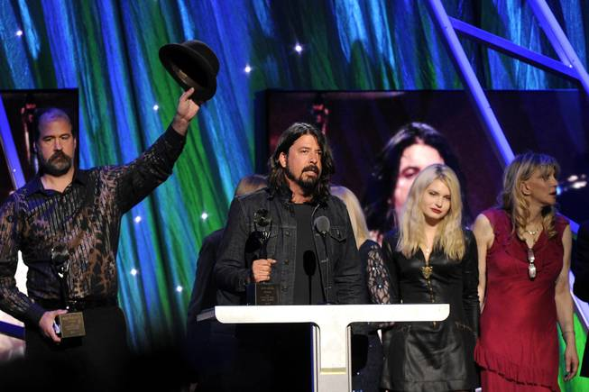 Hall of Fame Inductee of Nirvana, Dave Grohl speaks at the 2014 Rock and Roll Hall of Fame Induction Ceremony on Thursday, April, 10, 2014 in New York.