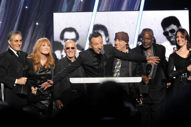 Bruce Springsteen speaks at the 2014 Rock and Roll Hall of Fame Induction Ceremony on Thursday, April, 10, 2014 in New York.