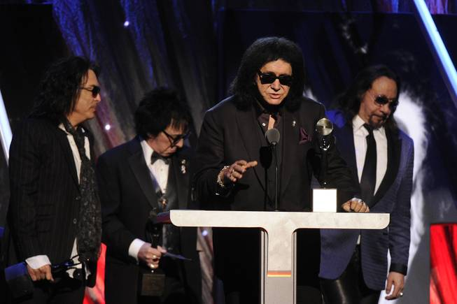 Hall of Fame Inductees KISS — Paul Stanley, Peter Criss, Gene Simmons and Ace Frehley — speak at the 2014 Rock and Roll Hall of Fame Induction Ceremony on Thursday, April, 10, 2014, in New York.