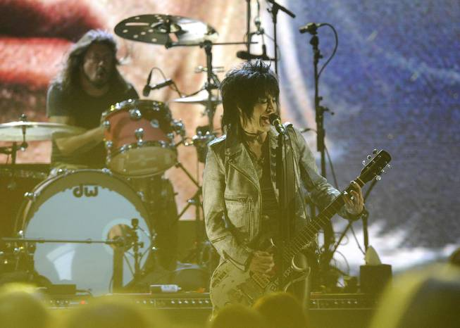 Hall of Fame Inductee Dave Grohl and Joan Jett perform at the 2014 Rock and Roll Hall of Fame Induction Ceremony on Thursday, April, 10, 2014 in New York.