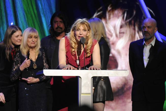 Courtney Love speaks at the 2014 Rock and Roll Hall of Fame Induction Ceremony on Thursday, April, 10, 2014 in New York.
