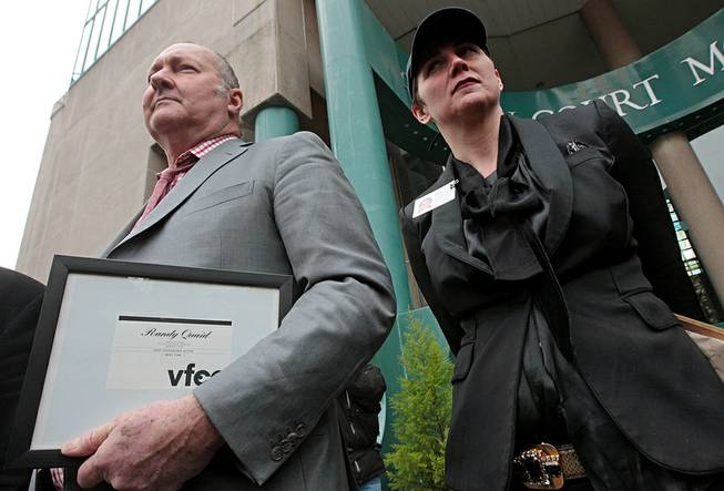 Actor Randy Quaid and his wife, Evi Quaid, attend a news conference Wednesday, Feb. 23, 2011, in Vancouver, B.C.