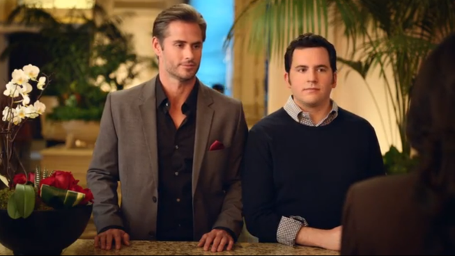 "Two actors are shown in a screenshot from ""The Check Out,"" a new advertisement from the Las Vegas Convention and Visitors Authority. The ad, according to LVCVA officials, is the first national mainstream tourism television commercial that celebrates same-sex relationships."