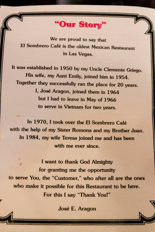 The back of the menu at El Sombrero restaurant located on Main Street, which has been open since 1950, tells of its historic story on its closing day Saturday, April 12, 2014.
