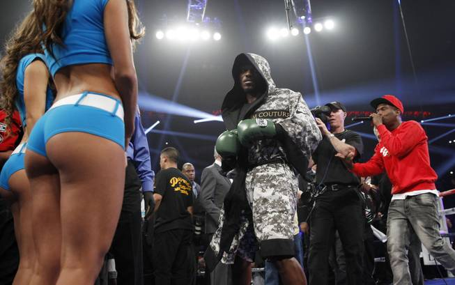 Undefeated WBO welterweight champion Timothy Bradley enters the ring for his title fight against Manny Pacquiao of the Philippines at the MGM Grand Garden Arena on Saturday, April 12, 2014.
