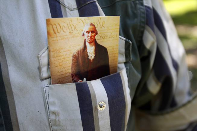 A copy of the U.S. constitution is shown in the shirt pocket of Ryan Bundy at the family ranch near Bunkerville Sunday, April 13, 2014. The Bureau of Land Management halted their roundup of Bundy family cattle under an agreement reached Saturday.