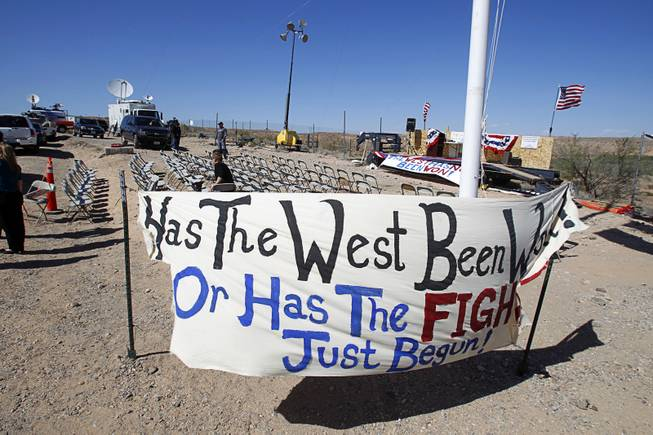 A gathering area for Bundy family supporters is shown near Bunkerville Sunday, April 13, 2014. The Bureau of Land Management halted their roundup of Bundy family cattle under an agreement reached Saturday.