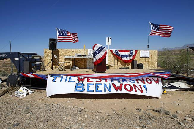 A stage is shown at a gathering area for Bundy family supporters near Bunkerville Sunday, April 13, 2014. The Bureau of Land Management halted their roundup of Bundy family cattle under an agreement reached Saturday.