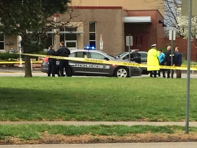 In this photo provided by KSHB41 Action News, authorities respond the Jewish community center after a shooting in Overland Park, Kan., Sunday, April 13, 2014.