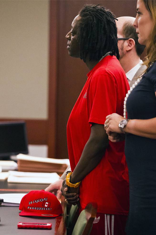 William Jonathan Drayton, Jr., aka Flavor Flav, appears before Judge Kathy Hardcastle flanked by lawyers at the Regional Justice Center on Monday, April 14, 2014.