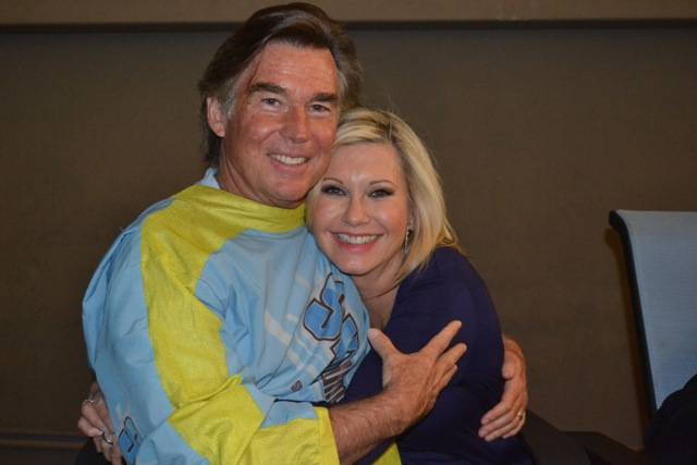 Olivia Newton-John and John Easterling at Sky Jump at the ...