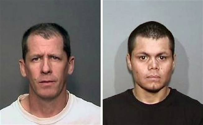 Stephen Dean Gordon, 45, left, and Franc Cano, 27, are under arrest on suspicion of killing four women in Orange County, Calif. Anaheim Police said detectives in Santa Ana and Anaheim launched a joint investigation after a naked body was found in the conveyor belt of a recycling plant last month. The probe led detectives to connect the men to her slaying, and the disappearance of three women who frequented a Santa Ana neighborhood known for drug dealing and prostitution.