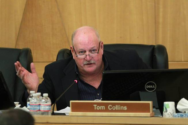 Commissioner Tom Collins clarifies earlier remarks he had made on the Cliven Bundy cattle trespass situation during a meeting of the Clark County Commission Tuesday, April 15, 2014.