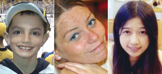 FILE - This combination of undated family photos shows, from left, Martin Richard, 8, Krystle Campbell, 29, and Lingzi Lu, a Boston University graduate student from China. Richard, Campbell and Lu were killed in the bombings near the finish line of the Boston Marathon on April 15, 2013, in Boston. A year after the bombings, prosecutors have said they have a trove of evidence to use against suspect Dzhokhar Tsarnaev, including surveillance video showing him placing one of the bombs just yards from Martin Richard. (AP Photo/File)